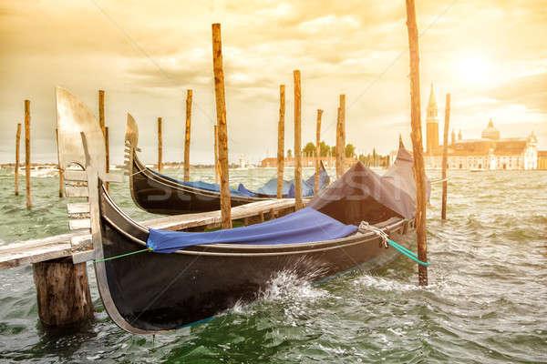 Pôr do sol canal Veneza igreja água cidade Foto stock © artjazz
