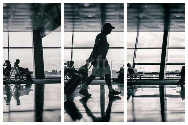 Foto stock: Silhueta · homem · aeroporto · bagagem · arte · fundo