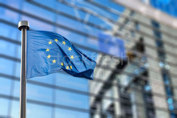 European Union flag against European Parliament Stock photo © artjazz