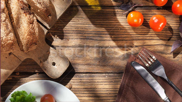 Top view of italian food on wooden table Stock photo © artjazz