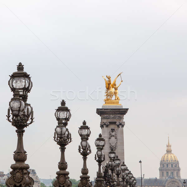 Empty Alexander III bridge in Paris Stock photo © artjazz