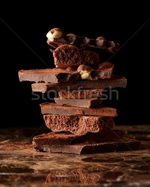 Vág csokoládé szelet márvány sötét csokoládé csoport Stock fotó © artjazz