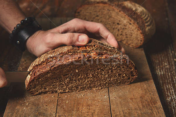 Mani segale pane legno rosolare Foto d'archivio © artjazz
