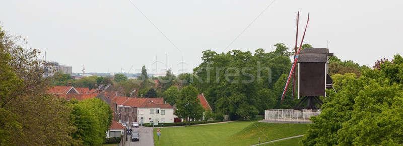 風車 丘 パノラマ 古い 旧市街 ベルギー ストックフォト © artjazz