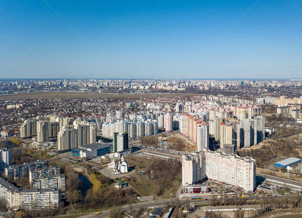 Panorama view of the city in spring on a sunny day Stock photo © artjazz