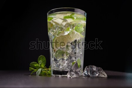 Glass of iced lemonade soda with slice lime and mint leaves Stock photo © artjazz