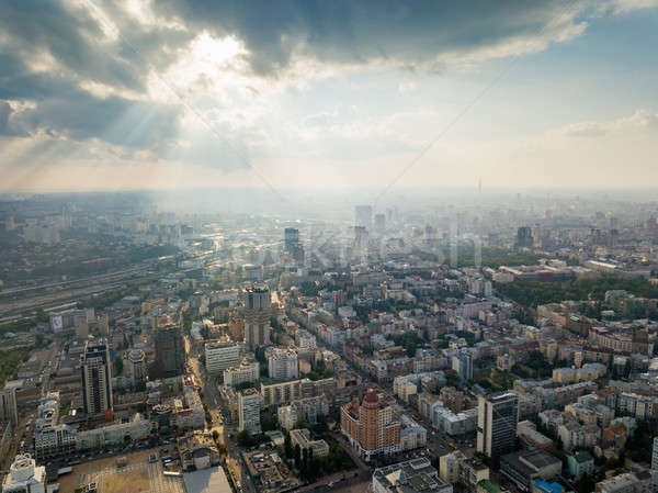 Aerial view of Kiev cityscape, Ukraine with historical and modern building on a beautiful summer sun Stock photo © artjazz