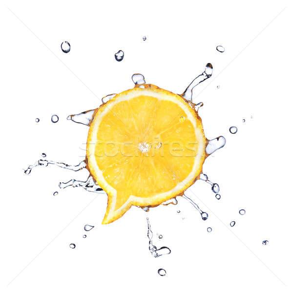 лимона форма диалог окна капли воды изолированный Сток-фото © artjazz