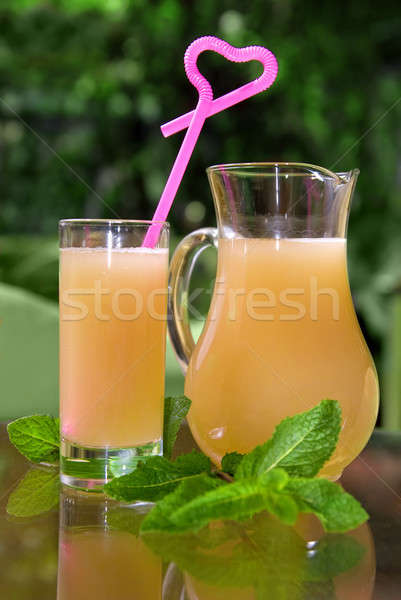 cold drink in glass with mint Stock photo © artjazz