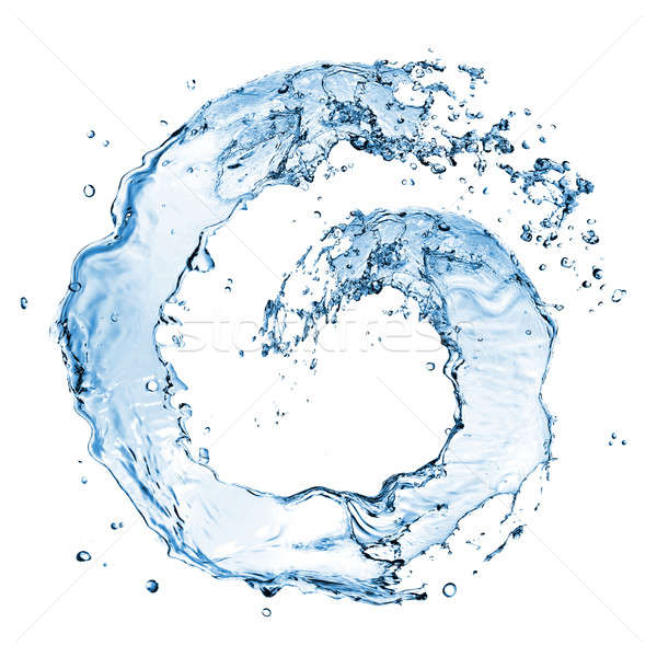 Stock photo: round water splash isolated on white