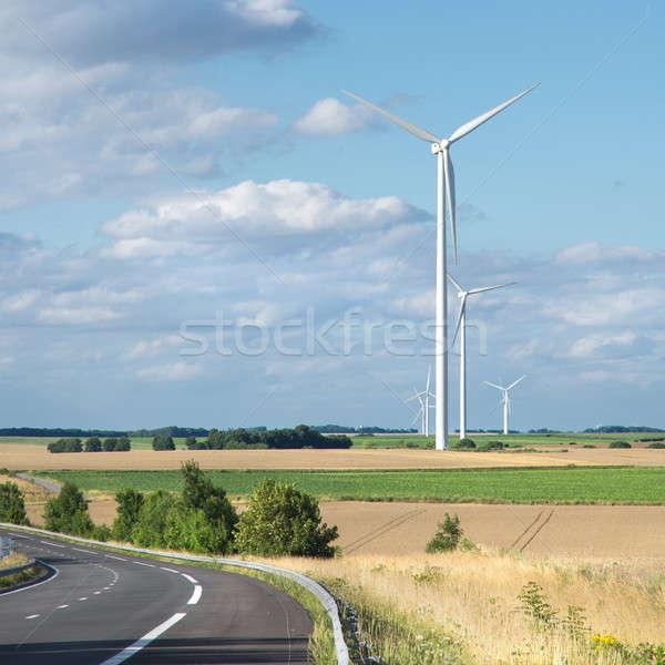 Vent générateur turbine été paysage arbre Photo stock © artjazz