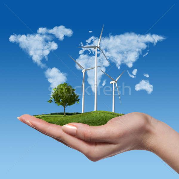 風力タービン ツリー 女性 手 草原 青空 ストックフォト © artjazz
