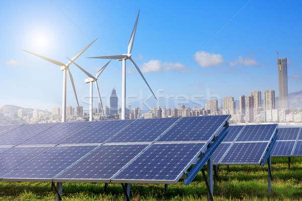 ソーラーパネル 風力タービン 市 空 雲 地平線 ストックフォト © artjazz