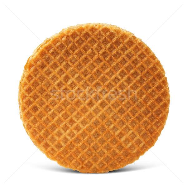 Waffle with caramel isolated on white background Stock photo © artjazz