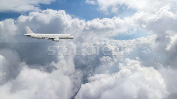 Antenne hemel wolken vliegtuig vliegen bewolkt Stockfoto © artjazz