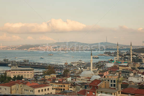 Aerial view of the golden horn and the galata bridge Stock photo © artjazz
