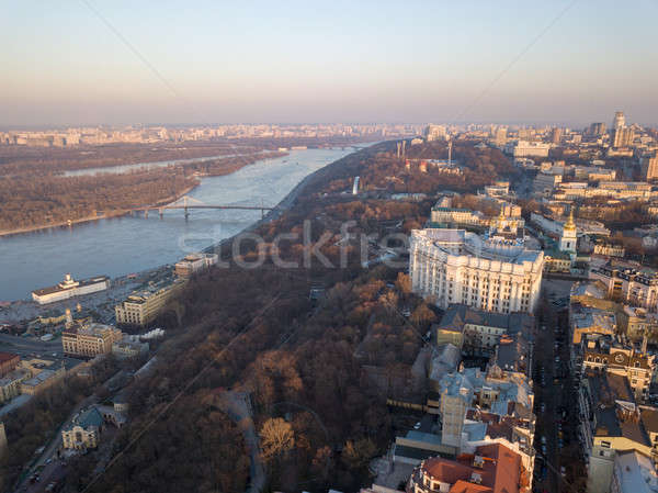 Panorámakép kilátás folyó kerület Ukrajna légifelvétel Stock fotó © artjazz
