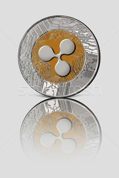 Coin ripple on white glossy background. Conceptual image for worldwide cryptocurrency and digital pa Stock photo © artjazz
