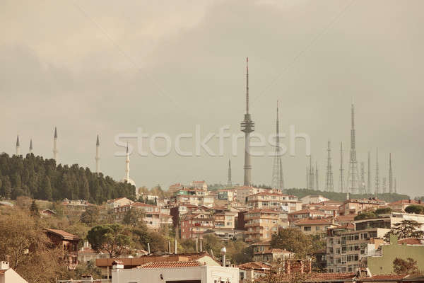 Landscape panoramic view to the historical part of Istanbul, Turkey with the television towers. Stock photo © artjazz