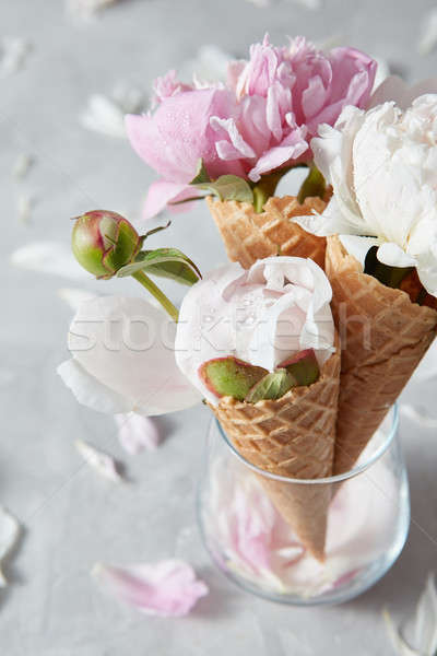Decorative postcard of delicate pink and white peony flowers in  Stock photo © artjazz
