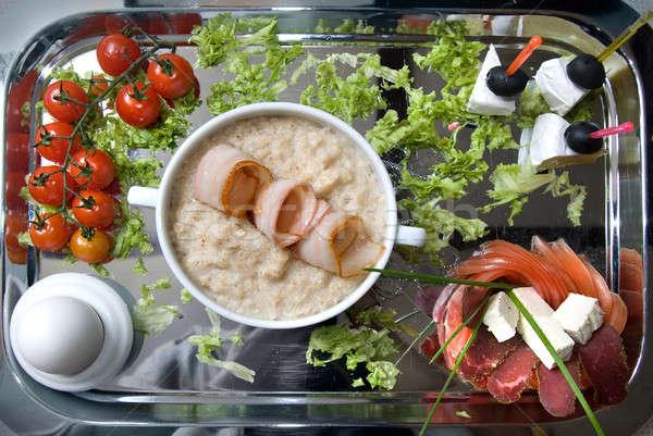 Anglais déjeuner oeuf alimentaire fond viande Photo stock © artjazz