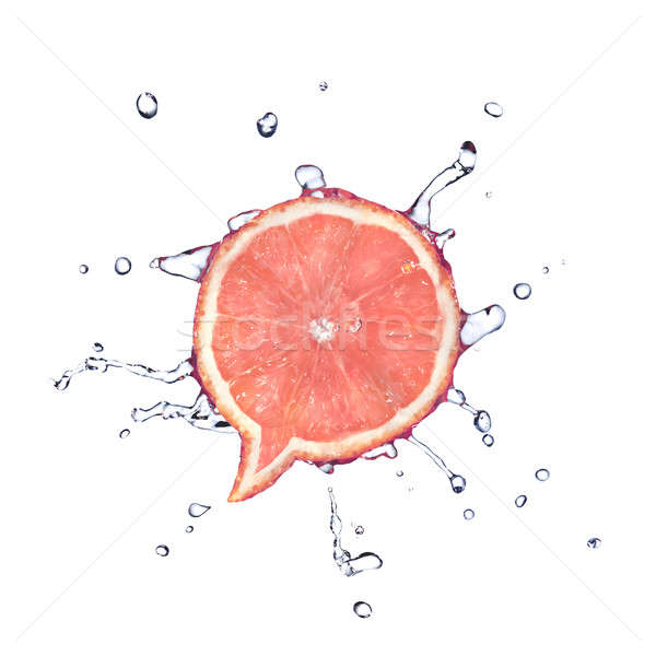 Grapefruit in shape of dialog box with water drops isolated on white Stock photo © artjazz