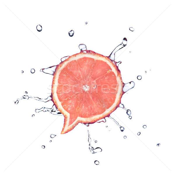 Stockfoto: Grapefruit · vorm · dialoog · vak · waterdruppels · geïsoleerd