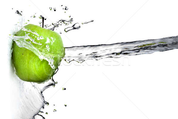 fresh water splash on green apple isolated on white Stock photo © artjazz