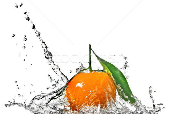 Tangerine with green leaves and water splash isolated on white Stock photo © artjazz