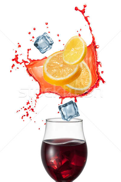 Sangria drink with ingridients isolated on white background Stock photo © artjazz