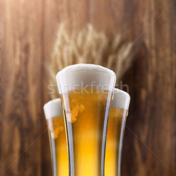üveg sör búza fa fából készült bár Stock fotó © artjazz