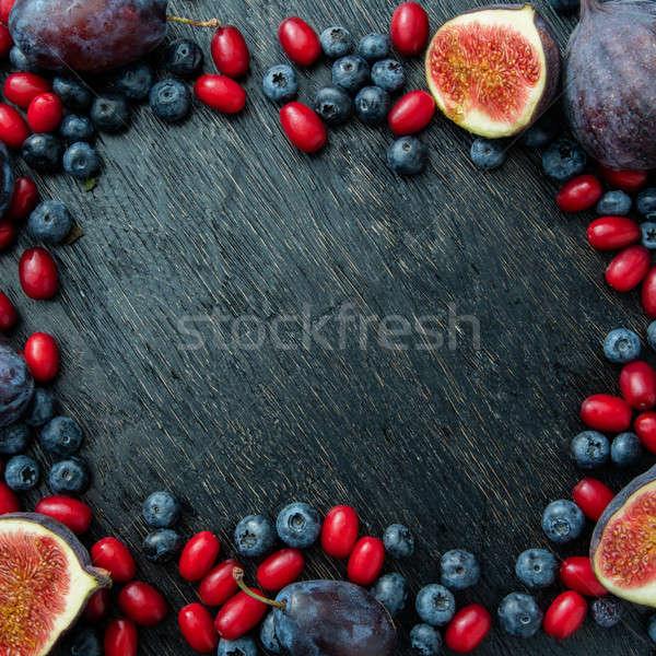 Frame bessen vers organisch bosbessen pruimen Stockfoto © artjazz