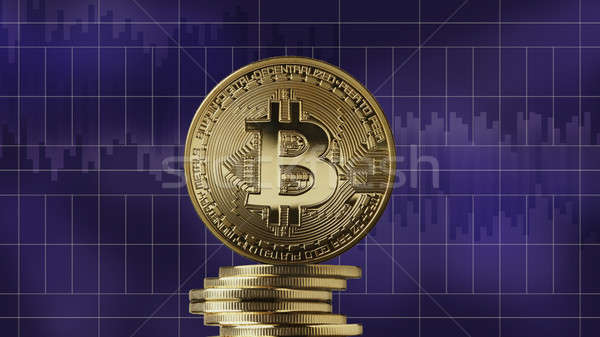 Gouden munt bitcoin valuta moderne Stockfoto © artjazz