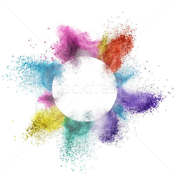 abstract multicolor powder splatted behind a round frame exploding on white background Stock photo © artjazz
