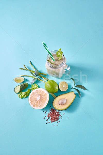 Friss lédús detoxikáló zöld üveg csésze Stock fotó © artjazz