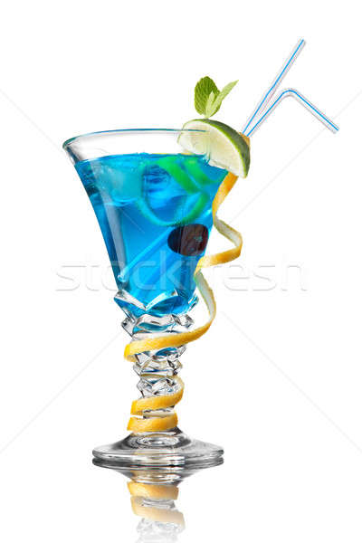 blue curacao cocktail isolated on white Stock photo © artjazz