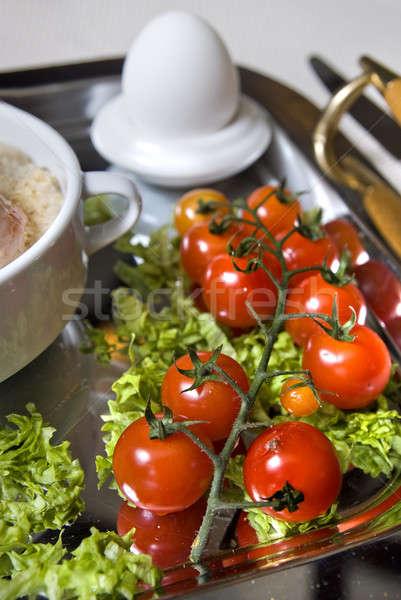 Felfelé angol reggeli paradicsom fókusz étel Stock fotó © artjazz