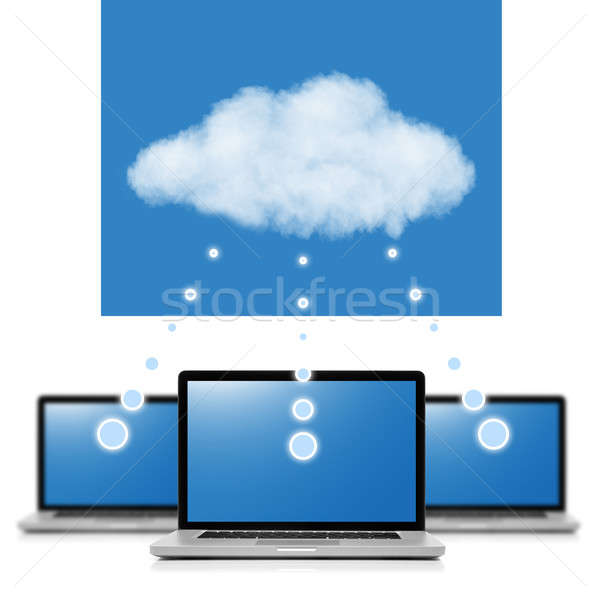 Cloud computing network concept. Notebooks linked with cloud iso Stock photo © artjazz