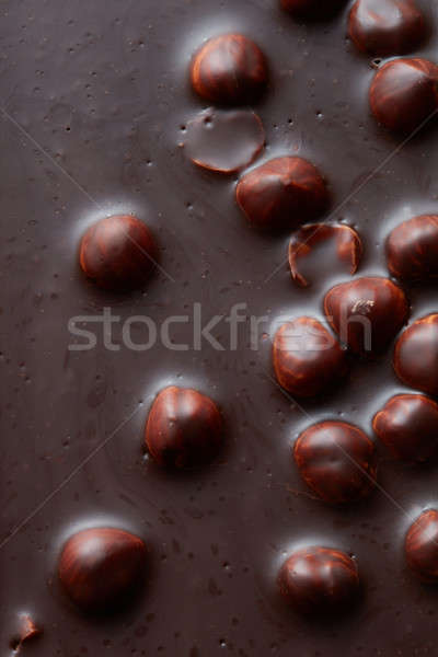 texture of chocolate with nuts Stock photo © artjazz