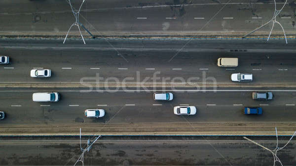Kiev, Ukraine.- February 02,2018: Aerial view of road automobile traffic of many cars, transportatio Stock photo © artjazz