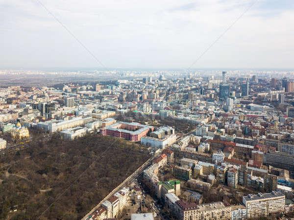 Kiev, Ukraine - April 7, 2018: aerial view panoramic view of the city.University of Taras Shevchenko Stock photo © artjazz