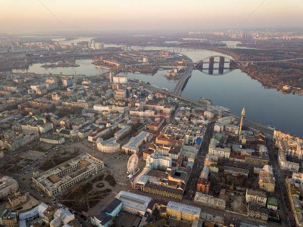 Légifelvétel város folyó hidak kerület sok Stock fotó © artjazz