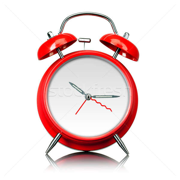 Stock photo: red old style alarm clock ready for setting time isolated on white