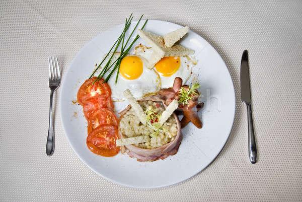 Angol reggeli tányér étel háttér hús Stock fotó © artjazz