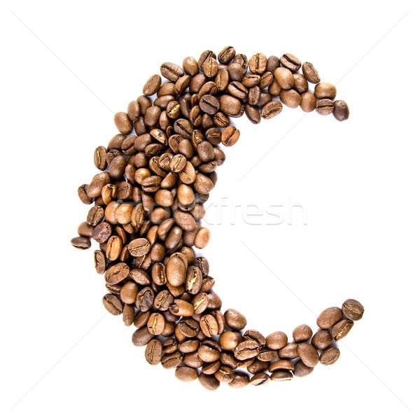 ストックフォト: 月 · コーヒー豆 · 孤立した · 白 · コーヒー · 黒