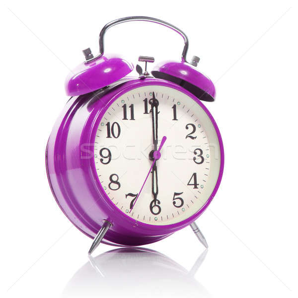pink old style alarm clock isolated on white Stock photo © artjazz