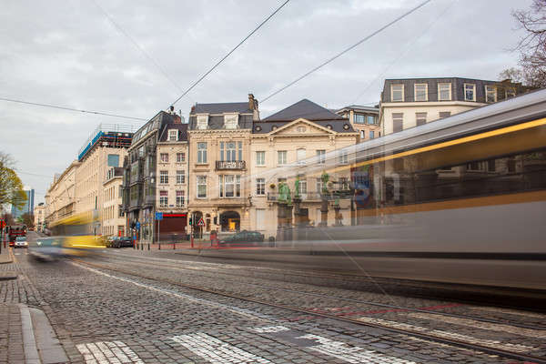 Tramway in motion on the street of Brussels near The Sablon Squa Stock photo © artjazz
