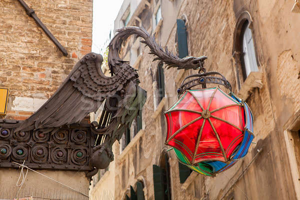 The Maforio Dragon lantern with umbrellas in Venice Stock photo © artjazz