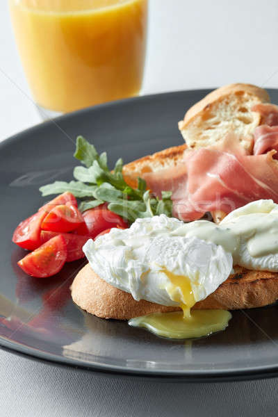 Stok fotoğraf: Yumurta · jambon · domates · tost · portakal · suyu · yumurta