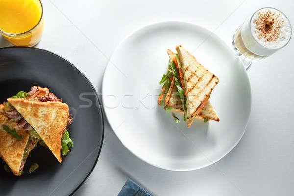 Foto stock: Café · da · manhã · sanduíches · café · suco · de · laranja · branco · comida